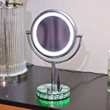 LED Lighted makeup mirror light dressing mirror and rose base mirror table mirror 8-inch Green rose base