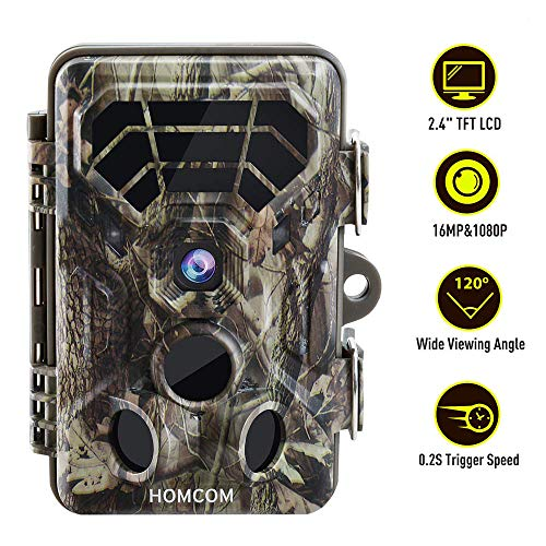 "HOMCOM Trail Camera 16MP 1080P, Game Camera with No Glow Night Vision Up to 65ft, 0.2s Trigger Time Motion Activated, 2.4"" Color Screen IP66 Waterproof Wildlife Hunting Camera"