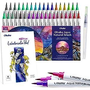 36 Watercolor Pad and A Blending Aqua Nylon Brush Tip for Coloring