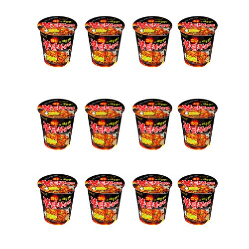 Spicy Chicken Roasted Cup Noodles (x 12 Cups), Spicy Chicken Cup Ramyun Korean Noodle Ramen BULDAK BOKKEUM MYUN