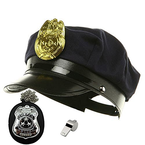 [Costume Set Navy Blue Cop Hat Plastic Detective Badge And Metal Police Whistle] (Cop Hat)