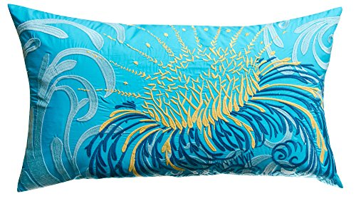 Koko Water Collection Prints and Embroidery Cotton Pillow, 15-Inch by 27-Inch, Blue/Mustard ()