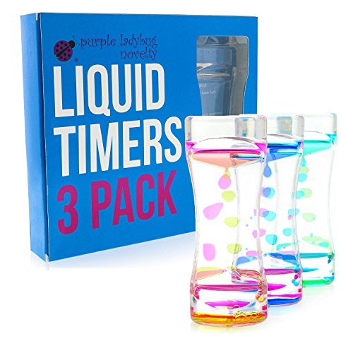 3 Pack of Liquid Motion Timers Sensory Toys for Stress Relief - Great as Bubbler Timer Fidget Toys for Kids, Satisfying Mini Lava Lamp Office & Desk Toys, Figit Toy Gift for Boys, Girls, and Adults!