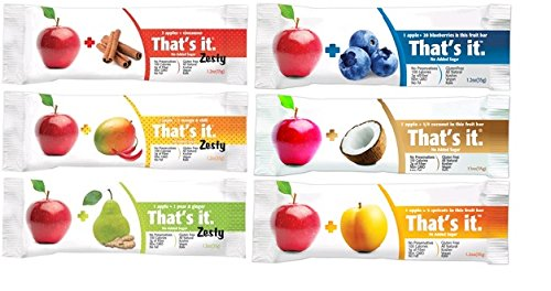 That's it Zesty Mix, Pack of 12, (2 Apple+Blueberry, 2 Apple+Coconut, 2 Apple+Apricot, 2 Apple+Pear&Ginger, 2 Apple+Mangoes&Chili, 2 Apple+Cinnamon)