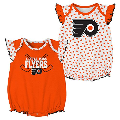 (Outerstuff NHL Philadelphia Flyers Newborn & Infant Hockey Hearts 2Piece Onesie Set, 24 Months, White)