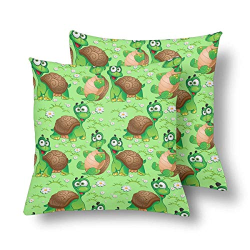 (Royalreal Cartoon Turtle Green Meadow Daisy Throw Pillow Cover Decorative Durable Cushion Cover Set of 2 18x18inch Soft Linen Pillowcase for Sofa Couch Bedroom)