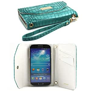 JAVOedge Croc Clutch Wallet Case with Wristlet for the Samsung Galaxy S4 (Turquoise)