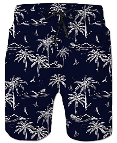 Palm Tree Pattern - Belovecol Mens Bathing Suits Palm Tree Cool Pattern Casual Swim Trunks Long M