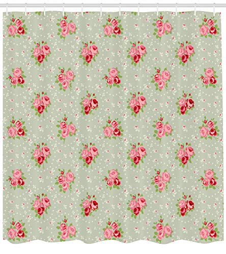 Lunarable Roses Shower Curtain by, Shabby Chic English Roses Feminine Spring Garden Flourish Retro Style, Fabric Bathroom Decor Set with Hooks, 70 Inches, Reseda Green Coral Ruby