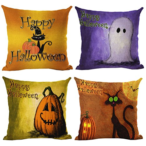 Halloween Pumpkin Lantern Girl Pattern Cotton Linen Square