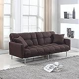 Divano Roma Furniture Collection - Modern Plush Tufted Linen Fabric Splitback Living Room Sleeper Futon (Brown)