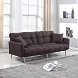 Modern Plush Tufted Linen Fabric Sleeper Futon