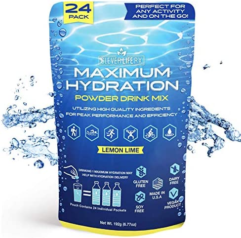 Clever Life Rx Maximum Hydration Vitamin Powder Energy Drink Mix in Lemon Lime Flavor Gluten Free with Sodium, Keto, Vegan, Non GMO Electrolyte Supplement Peak Performance, Made in USA 24 Packets