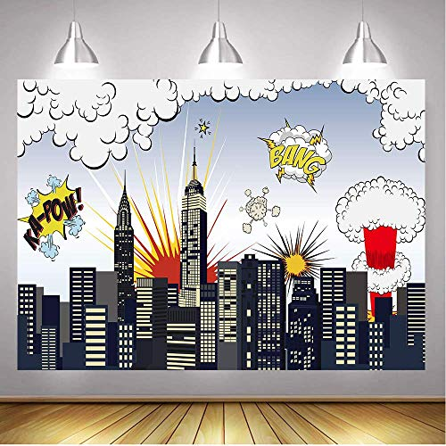 Daniu 7x5FT Super Hero City Backdrops Baby Shower Birthday Party Photography Background Superhero Cityscape Photograph Backdrop Decor Studio Photo Booth Props]()
