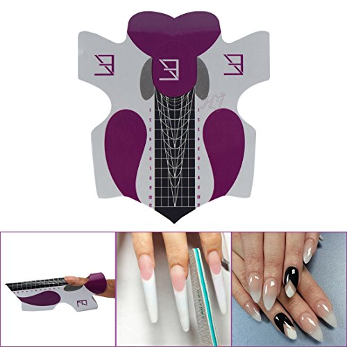 Acrylic Stickers (100Pcs Professional Stiletto Nail Forms Acrylic Curve Nails UV Gel Nail Extension Nail Art Guide Form Self-Adhesive Sticker HJ-NTF037)