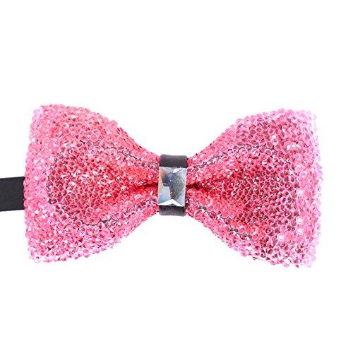 Mens Boy Novelty Soild Pink Bow Tie Woven Cravat Pre-Tied Neck Tie Tuxedo ()