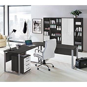 Lomado Komplett Büromöbel Set in anthrazit mit Hochglanz weiß ○ 2 x ...