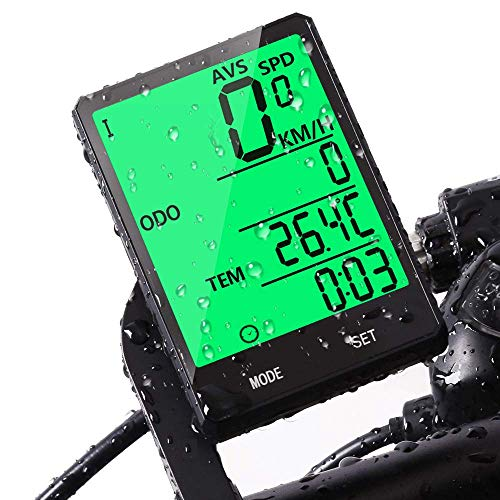 JGRZF Bike Computer,Bicycle Wired Computer Speedometer and Odometer Waterproof with Backlight Large LCD Display, Tracking Distance AVS Speed Time Two Bicycle Using for Outdoor Cycling,Multi Function