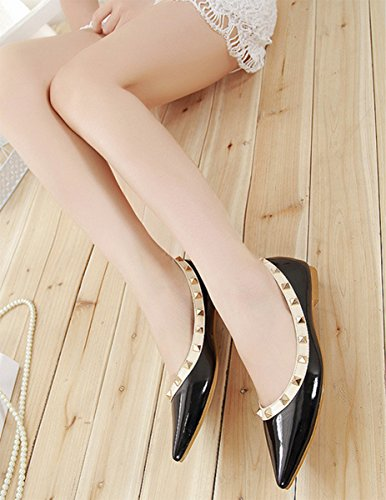 Schwarz Flache Schuhe Damen SexyPrey Große Größe Schuhe Nieten Slip Ballettschuhe Pumps On Spitzen ZT6wqwx7
