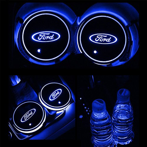 ZhengRong Car Logo LED Cup Pad led Cup Coaster USB Charging Mat Luminescent Cup Pad LED Mat Interior Atmosphere Lamp Decoration Light for Ford (2 Piece) ()