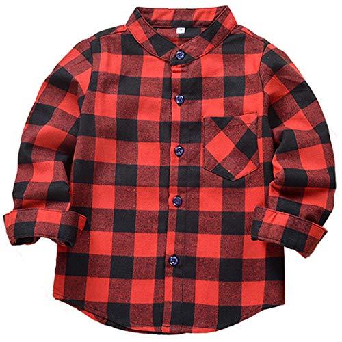 SERAIALDA Baby Boys Girls Button Down Plaid Flannel Long Sleeve Shirt 2T-3T(Tag Size 100) -
