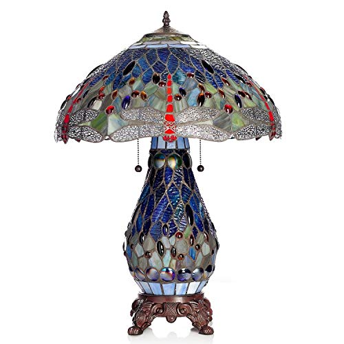 Warehouse of Tiffany s T18275TGRB Dragonfly Tiffany-Style Table Lamp with Lighted Base, 26 x 18 x 18 , Blue and Red