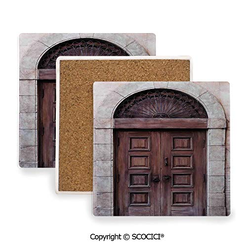 (Ceramic Coaster With Cork Mat on the back side, Tabletop Protection for Any Table Type, Square coaster,Rustic,Arched Wooden Venetian Door with Eastern Royal,3.9