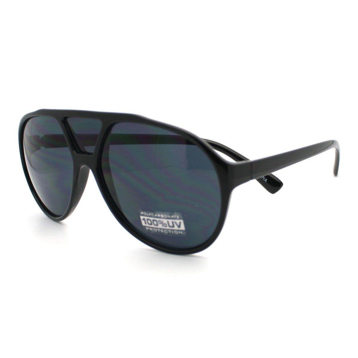 737a4a76df2ff Amazon.com  All Black Racer Aviator Sunglasses Retro Tear Drop Frame Third  Bridge Lens  Clothing
