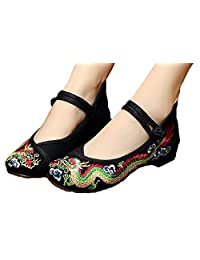 Tianrui Crown Women and Ladies Chinese Traditional Dragon Embroidery Flats Cheongsam Shoes
