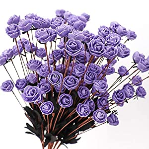 Yunuo 10PCS/Bunch Bubble Rose Flower Artificial Wedding Bouquet Home Party Decor (Purple) 18