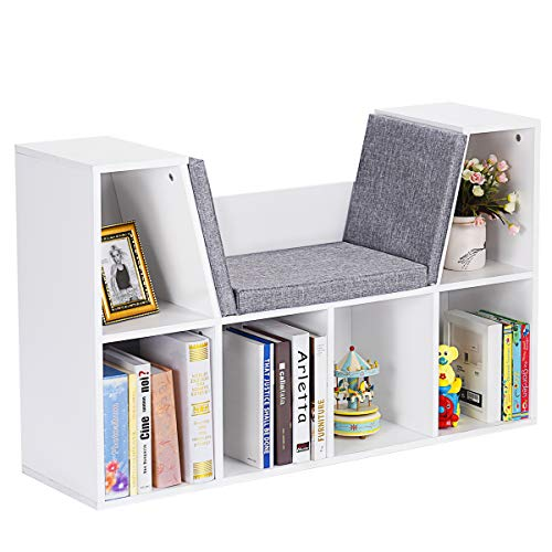 Bookcase w/Cushioned Reading Nook, Multi-Purpose Storage Organizer Cabinet Shelf for Children Girls & Boys Bedroom Decor Room (White) ()
