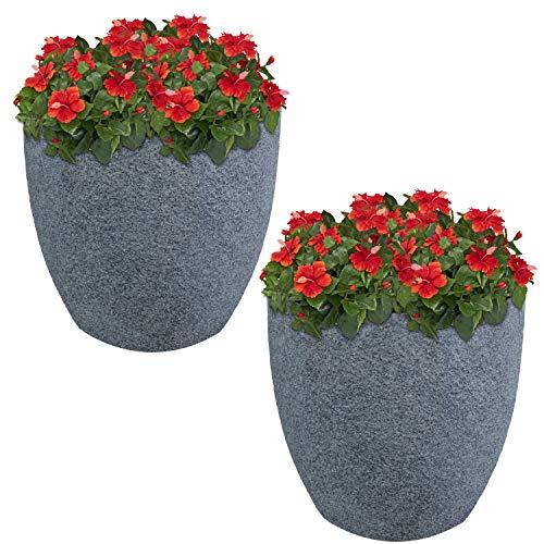 Sunnydaze Estate Fiber Clay Planter Flower Pot, Durable Indoor/Outdoor 15-Inch Set of 2, Gray ()