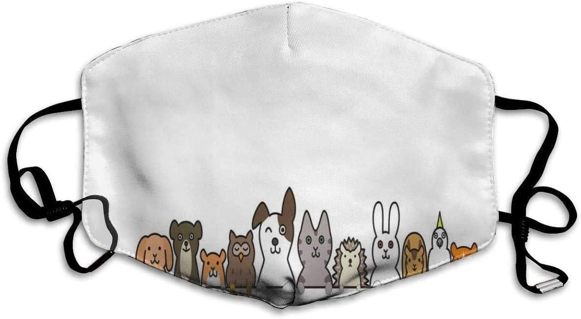 Lindas Mascotas domésticas Varios Animales con Expresiones Divertidas Estilo de Dibujos Animados humorísticos Cómoda Máscara bucal Reutilizable