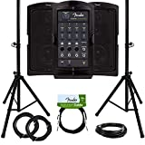 Fender Passport Conference Portable PA System Bundle with Compact Speaker Stands, XLR Cable, Instrument Cable, and Austin Bazaar Polishing Cloth