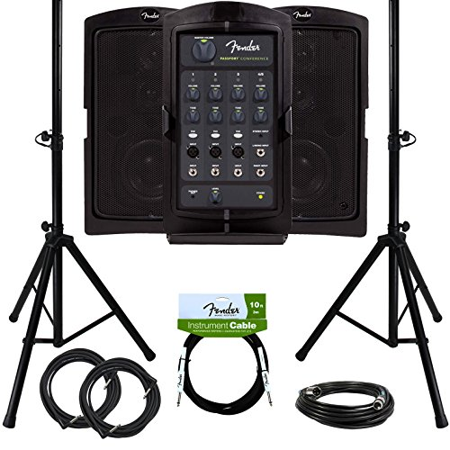 Fender Passport Conference Portable PA System Bundle with Compact Speaker Stands, XLR Cable, Instrument Cable, and Austin Bazaar Polishing Cloth by Fender