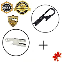 MeanHoo Stainless Steel Tactical Multi-functional Pocket Key Ring Keychain & Keychain Clip - Stainless Steel Multi Purpose Tool Belt Key Chain Money Clip Bottle Opener Sets