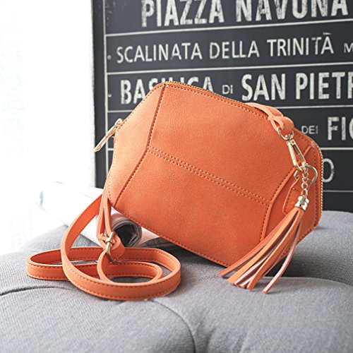 Women 17 Zipper Bag Female Messenger Tassels Accessories 21 Wallet Stylish 4cm Orange Handbag with Purses Suede Shoulder HCFKJ Sanding Compact Retro U5qgxwO