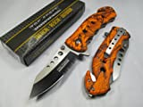 Tac Force Assisted Opening Rescue Tactical Pocket Folding Stainless Steel Blade Knife Outdoor Survival Camping Hunting - Orange Camo