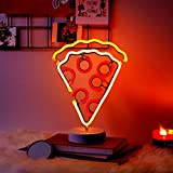 """Merkury Innovations 12"""" Pizza Multi-Color LED Lights Neon Signs Mood Light with Pedestal, Battery Operated Night Light Bedroom Decorations Lamp Home Party Decorations and Home Decor, Multi-Color"""
