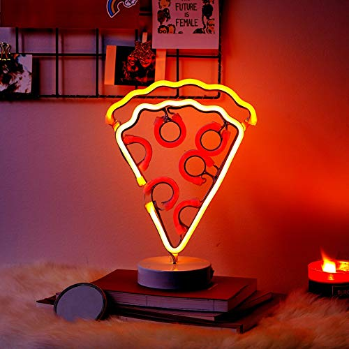 "Merkury Innovations 12"" Pizza Multi-Color LED Lights Neon Signs Mood Light with Pedestal, Battery Operated Night Light Bedroom Decorations Lamp Home Party Decorations and Home Decor, Multi-Color"