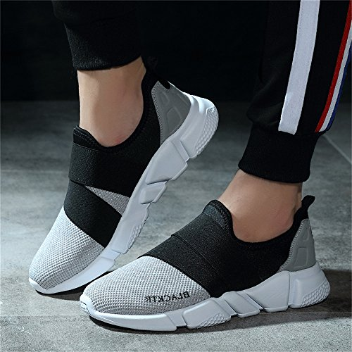 Grey Multi Shoes Elastic Monrinda Women Running 5 Men Casual on Sport 8 Size Sneakers Walking Mesh Slip 4 Running Breathable Lightweight Trainers 8Y74Yxqw