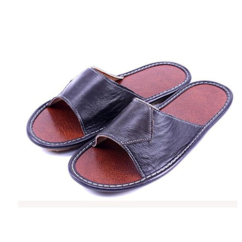 Women Autumn Caf¨¦ Men Leather Smelly for Floor Slippers Noir Anti Spring Corium Cowhide Summer TELLW Wooden M tw4OqZp