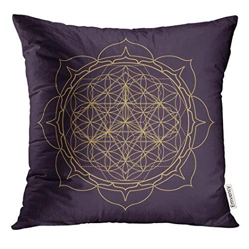 (VANMI Throw Pillow Cover Black Gold Monochrome Design Abstract Mandala Sacred Geometry Flower of Life Merkaba Lotus Dark Brown Decorative Pillow Case Home Decor Square 20x20 Inches Pillowcase)