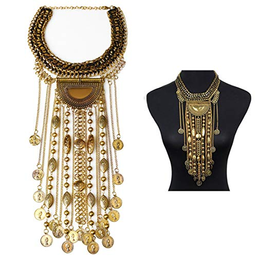 SUMAJU Statement Necklace, Beads Coin Fringe Statement Necklace Gold Tone Bohemian Ethnic Tribal Boho