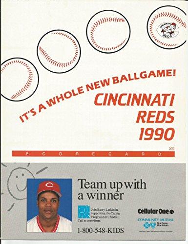 1990 Cincinnati Reds Scorecard w/ Johnny Bench, Barry Larkin Photos - World Series Championship Season