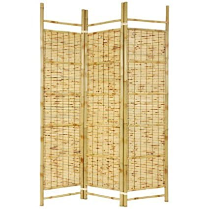 Oriental Furniture Tropical Beach Room Divider, 6-Feet Burnt Bamboo Japanese Shoji Portable Folding Privacy Floor Screen SSCBBAM