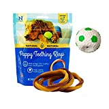 Puppy Teething Toys – Puppy Teething Ring Bones – Puppy Treats Chicken Natural Dental Chews – Best For Puppy Chewing – Puppy Teething Set With Squeaky Ball and 3 Teething Rings – Puppy Chew Bundle