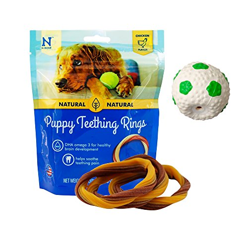 Mini Dog Toy Rings - Puppy Teething Toys - Puppy Teething Ring Bones - Puppy Treats Chicken Natural Dental Chews - Best For Puppy Chewing - Puppy Starter Set of Squeaky Ball Toy and 3 Teething Rings