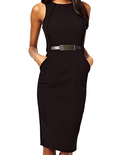 Olrain Women's Classic Slim Fit Sleeveless Midi Dress Belted
