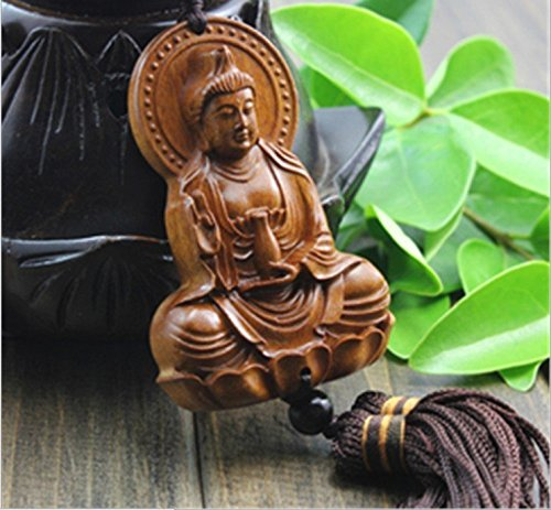 PureaquHandmade Traditional Safty Buddha Dragon Car Key Pendant Carving Car Rear Mirror Hanging Ornament Wooden Muslim Wooden Accessory Decoration Gift Automotive Interiors Car Decoration (Wood Dragon Mirror)